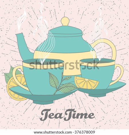 Tea time vector illustration of hand drawn doodle elements. Breakfast set in soft colors with tea pot, tea leaves, lemon, tea cup and other .