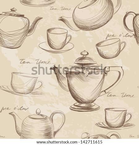 Tea time vintage seamless background. Retro kettle seamless pattern. - stock vector