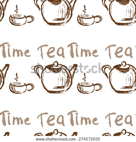 Tea time vintage seamless background. Seamless pattern can be used for wallpaper, pattern fills, web page backgrounds, surface textures. - stock vector