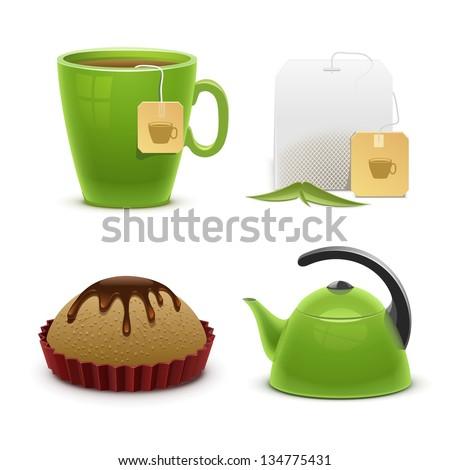tea vector icon set - stock vector
