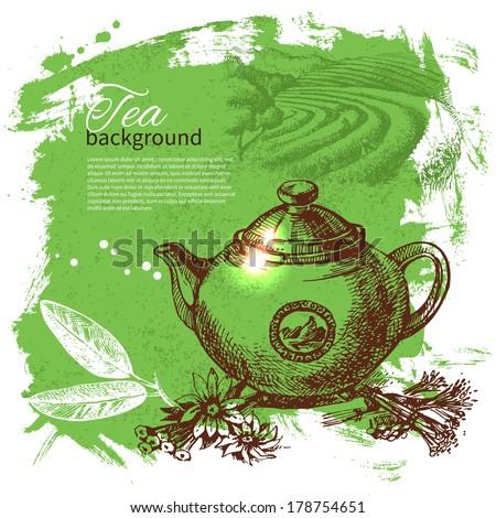 Tea vintage background. Hand drawn sketch illustration. Menu design - stock vector