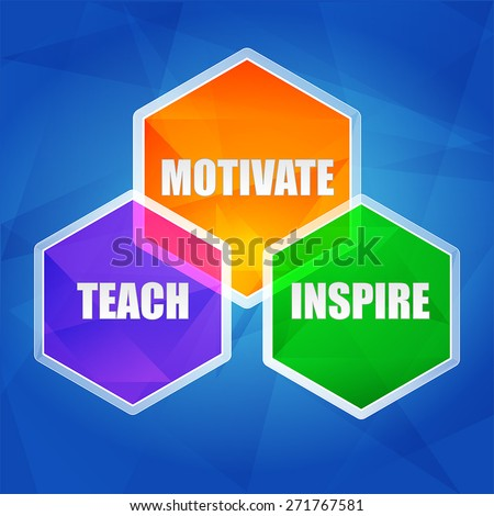 teach, inspire, motivate - education motivation concept words in color hexagons over blue background, flat design, vector - stock vector