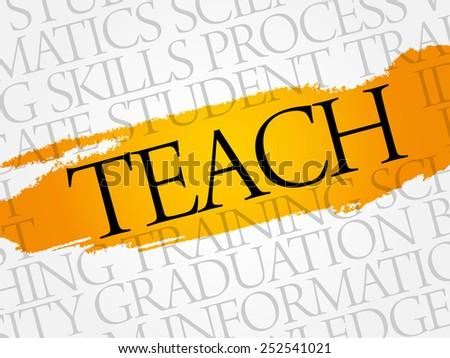 TEACH word cloud, education business concept - stock vector