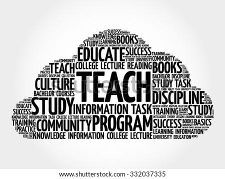 TEACH word cloud, education concept - stock vector