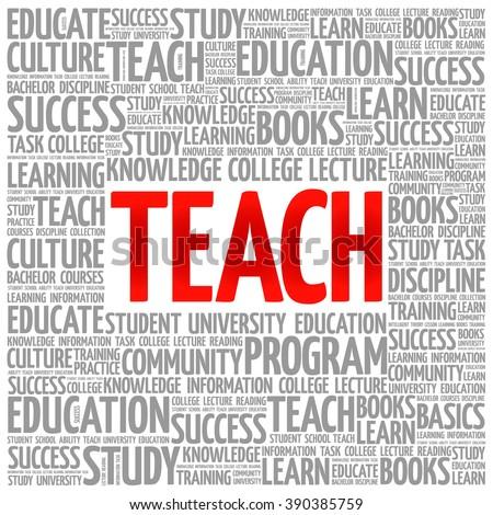 TEACH word cloud, education concept background - stock vector