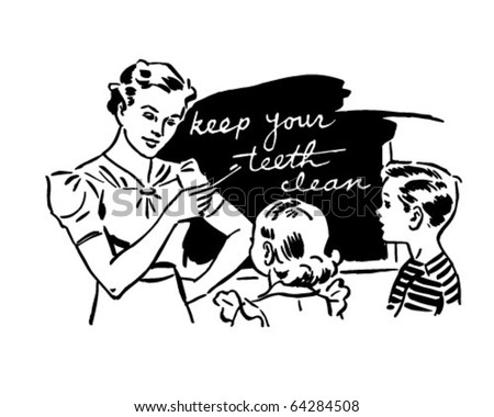 Teacher And Kids In Classroom - Retro Clipart Illustration - stock vector
