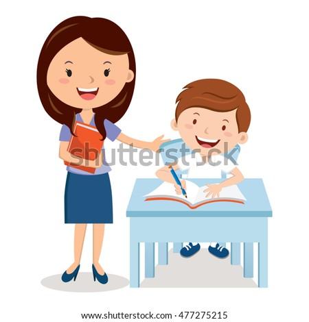 Teacher and school boy.  Vector illustration of a cheerful teacher with student.
