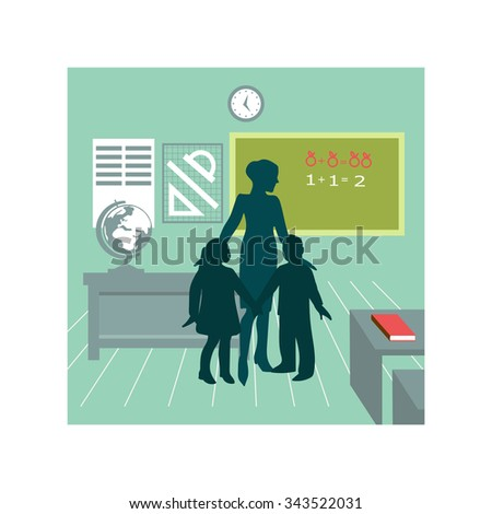 Teacher and school kids. Vector illustration. Grade school, preschool, Kids, Classroom, Learning,  - stock vector