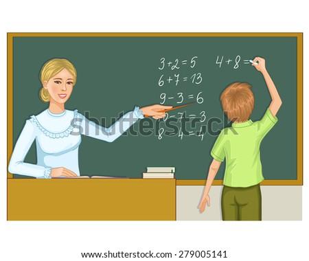 Teacher and schoolboy at blackboard, eps10 - stock vector