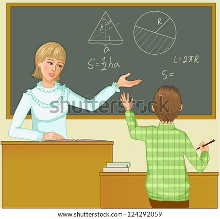 Teacher at blackboard asks children, eps10 - stock vector