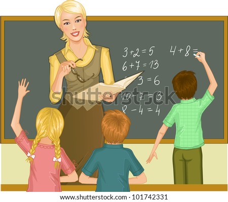Teacher at blackboard explains children mathematics. Vector image of a young teacher in the classroom who gives a lesson of mathematics - stock vector