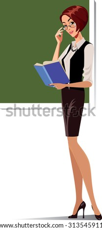 teacher at the blackboard with a book - stock vector