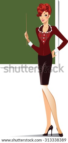 teacher at the blackboard with a pointer - stock vector
