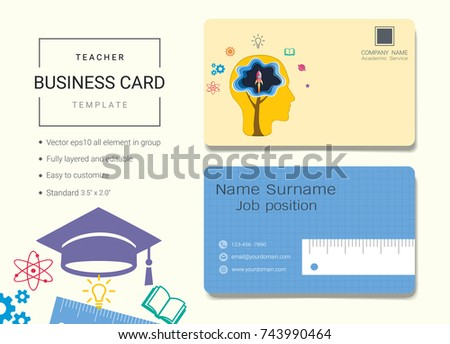 Teacher business name card design template stock vector royalty teacher business name card design template simple style also modern and elegant with education cap reheart Gallery