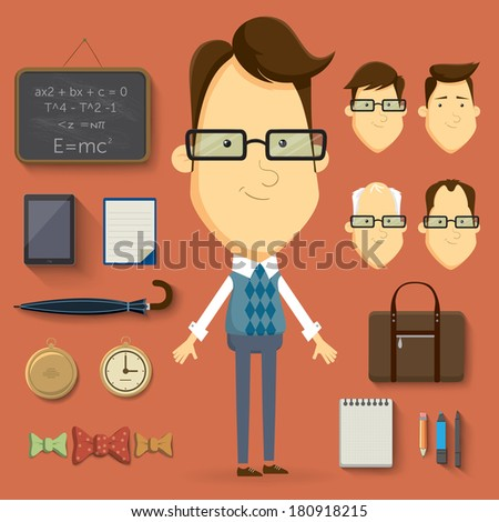 Teacher cartoon character illustration. Vector elements and accessories - stock vector