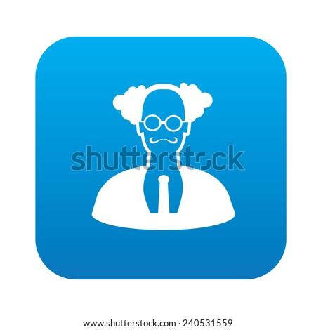 Teacher design on blue flat button,clean vector - stock vector