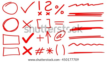 Teacher Hand Drawn Corrections Set in Red With Font Elements & Arrows - stock vector
