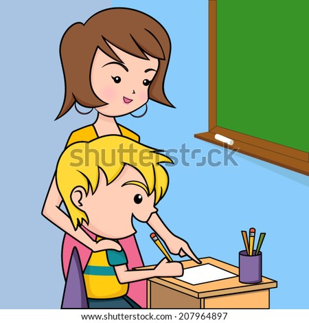 teacher helping student classroom vector illustration stock vector rh shutterstock com Student On Computer Clip Art Student On Computer Clip Art