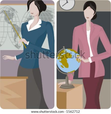 Teacher illustrations series. 1) Geography teacher teaching a class in a classroom. 2) Geography teacher teaching a class in a classroom. - stock vector