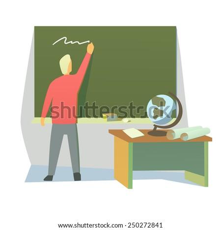 teacher in a classroom - stock vector
