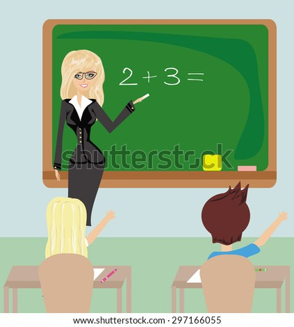 Teacher in Class - stock vector