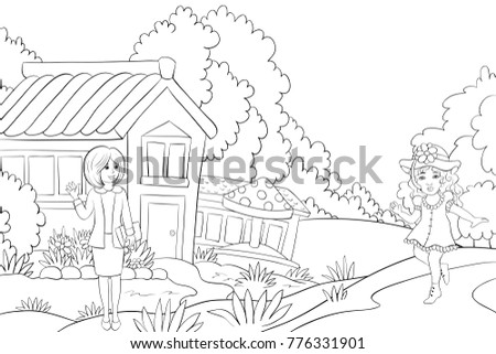 teacher in front of garden and a girl on a path  for children activities image.Line art style illustration.