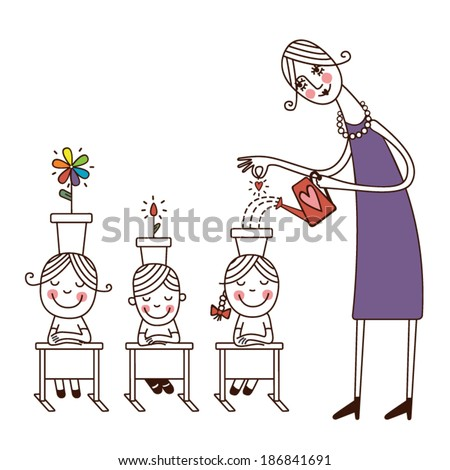Teacher infuses the knowledge to children in the head. - stock vector