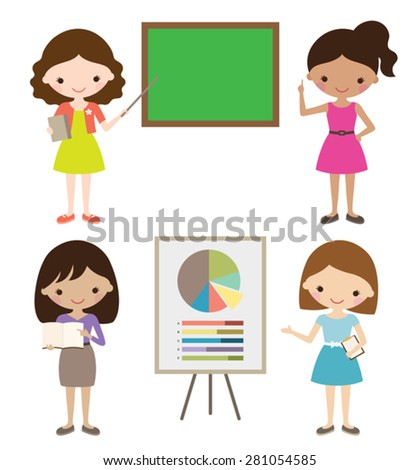 Teacher or businesswoman giving presentation. - stock vector