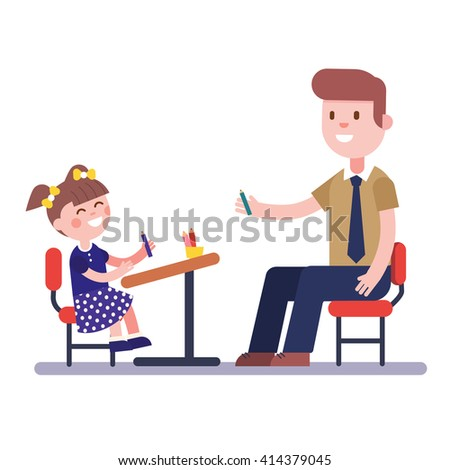 Teacher or home tutor studying with his girl pupil sitting at school desk. Modern flat vector illustration. Cartoon character clipart. - stock vector