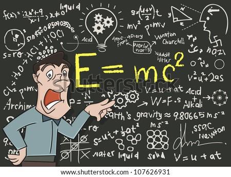 Teacher Pointing Blackboard Teaching Physics Mathematics Stock ...