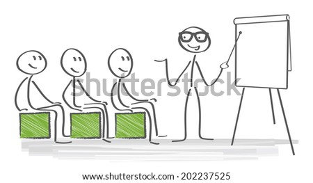 Teacher pointing to blackboard and explained - stock vector