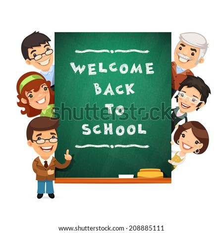 Teacher Points to the Blackboard with Welcome Back to School Phrase. In the EPS file each element is grouped separately. - stock vector