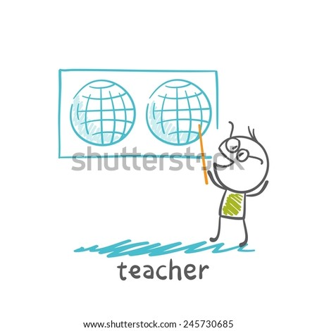 teacher showing a world map illustration - stock vector