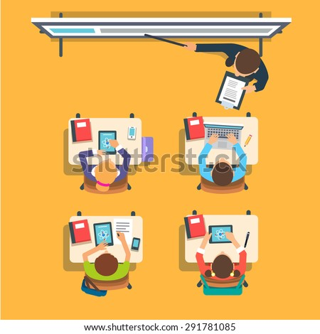 Teacher standing and pointing at the modern interactive whiteboard teaching in front of the children sitting at the desks in classroom. Flat vector isolated illustration. - stock vector