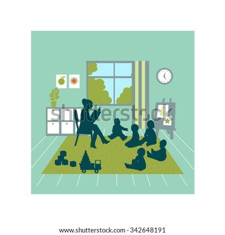 Teacher teach Kids on School Ground, Kindergarten, Preschool, Kids, Education, Learning. Kindergarten playroom classroom - stock vector