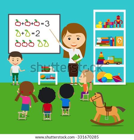 Teacher teaching kids in kindergarten. Vector preschool educational concept - stock vector