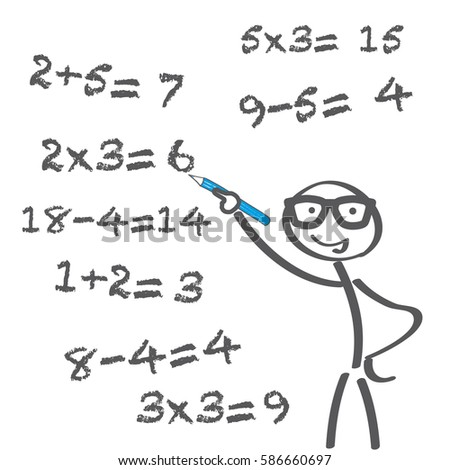 Teacher Tries Solve Math Problems Math Stock Vector 586660697 ...