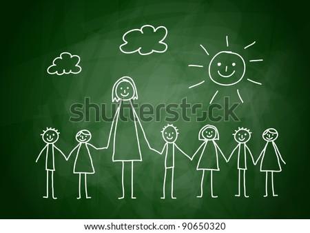 Teacher with children - stock vector
