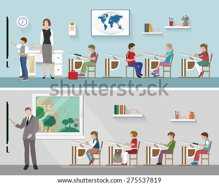 Teacher with schoolchildren in the classrom. Group of schoolkids listening to teacher's lecture - stock vector
