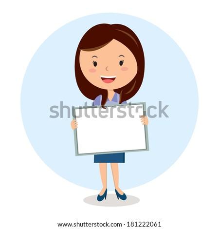 Teacher with whiteboard. Friendly teacher on lesson. - stock vector