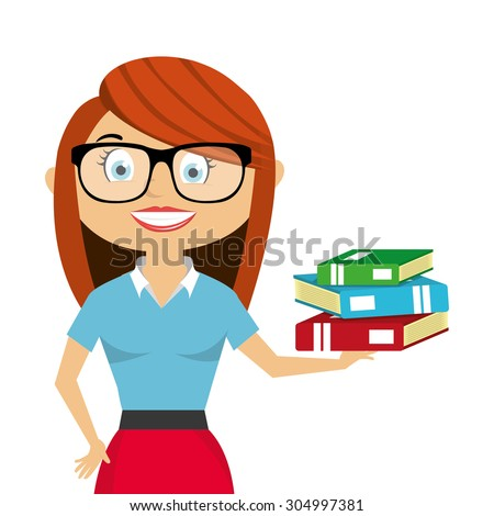 Teacher with work material - stock vector