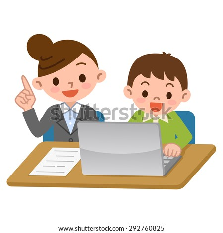Teachers and students of computer learning - stock vector