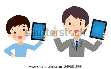 Teachers and students with a Tablet PC - stock vector