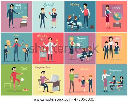 Teachers day. Set the teaching profession math and history, geography and labor, chemistry and grammar, etika and literature. Collection banner with people occupation flat design. Vector illustration