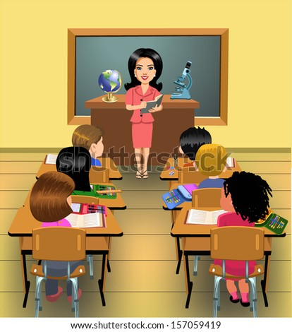 teaching lesson in classroom - stock vector