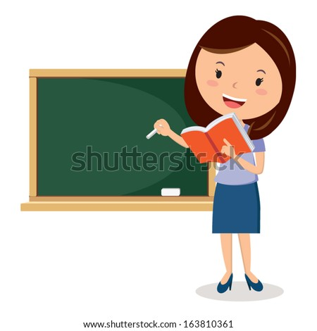 Teaching. School teacher or lecturer writing on a blackboard, she is holding a book. - stock vector