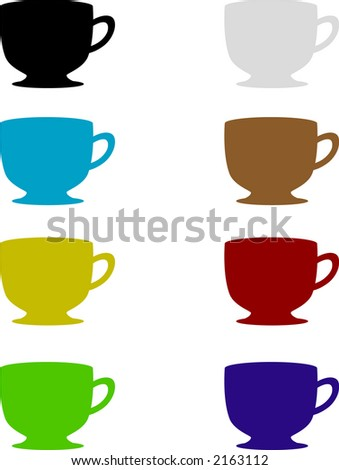 Teacup Set - Fully editable vector drawing - stock vector