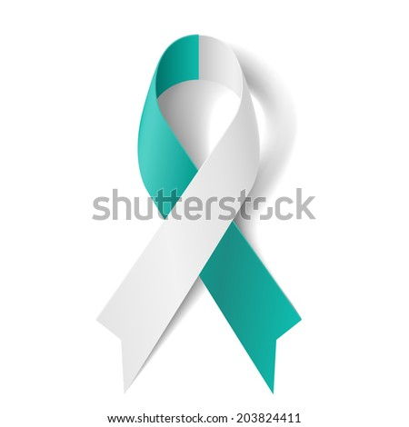 Teal and white ribbon as symbol of cervical cancer - stock vector