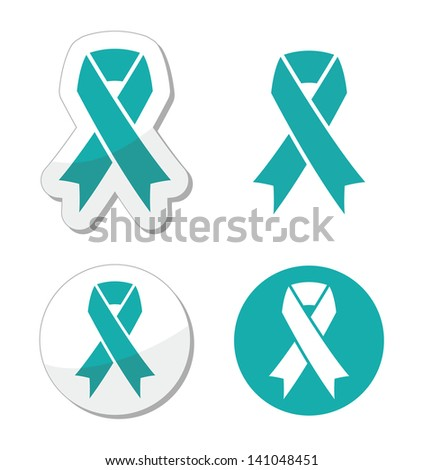 Teal ribbon - ovarian, cervical, and uterine cancers symbol - stock vector