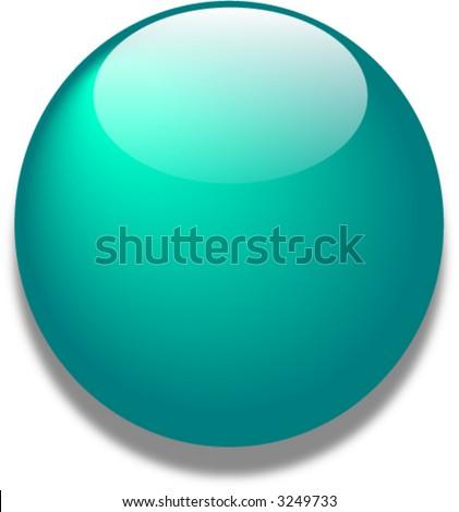 Teal vector glass web button - stock vector